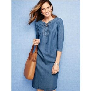 Talbots Jean Lace Up Dress w/ 3/4 Length Sleeves